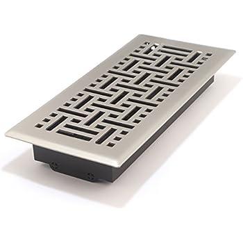 Accord AMFRSNB410 Floor Register with Wicker Design, 4-Inch x 10-Inch(Duct Opening Measurements), Satin Nickel