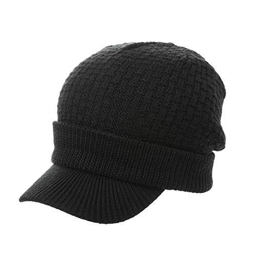(Fancet Womens Mens 31% Wool Knit Visor Beanie Hat Winter Newsboy Cap Cold Snow Weather)