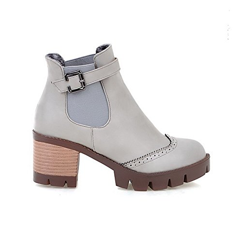 Women's Pull On High Heels Fabric Surface Solid Round Closed Toe Boots Beige 38