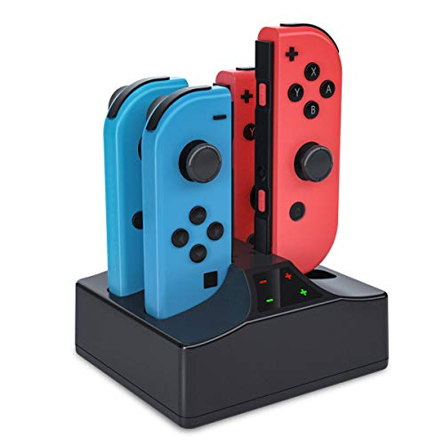 Switch Controller Charger for Nintendo Switch, Joy Con Charging Dock 4 in 1 Joy-Con Charger Base 5V/1A Portable Stand Charge Station with 1.5 M Type C Cable