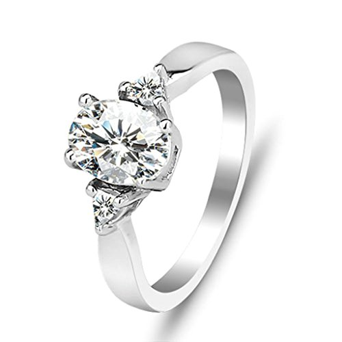 [Daesar Silver Plated Promise Ring Oval Cut Rings Engagement CZ Rings Size:7] (Coast Guard Costumes For Kids)
