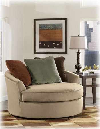 Laken Mocha Oversized Swivel Accent Chair