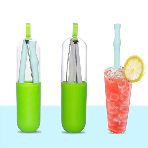 Collapsible Reusable Silicone Straws, Portable Folding Drinking Straw, BPA Free with Travel Case & Cleaning Brush, Suitable for 20/30 oz Tumblers for Home Office Travel Party _2 Pack