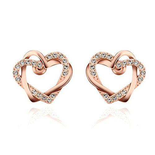 [VVeda Europe Rose Gold Diamond Stud Earrings Fashn Double Heart Jewelry(E1)] (Titanic Costumes Ideas)