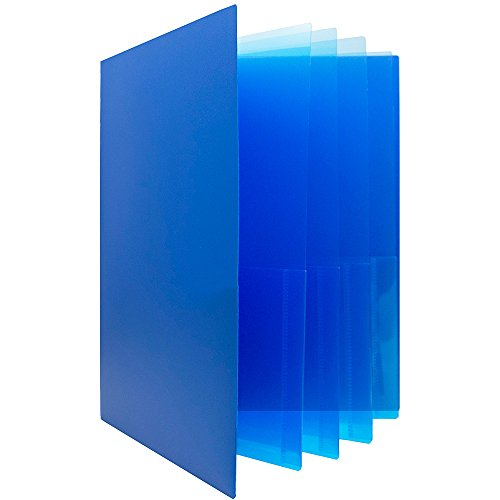 JAM Paper Heavy Duty Plastic Multi Pocket Folders - 10 Pocket - Blue - Sold Individually