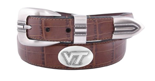 NCAA Virginia Tech Hokies Zep-Pro Crocodile Leather Concho Tapered Tip Belt, Black, 40-inches