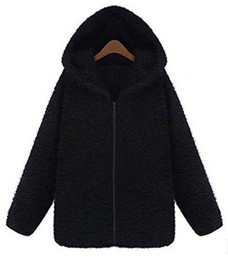 de YOGLY Mujer Suelta Abrigo con Chaqueta Terciopelo Capucha Espeso Invierno Negro 8Aqar8
