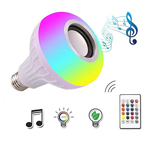 Autoday 12W White LED Wireless Bluetooth Music Light Bulb E27 RGB Colorful Lamp Bulit-in Audio Speaker Music Player (Ship From US)