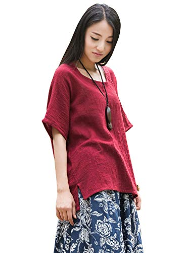 Soojun Women's Casual Loose Short Sleeve Round Collar Cotton Linen Shirt Blouse Tops Wine Red, One Size Cotton Gauze Short Sleeve Shirt