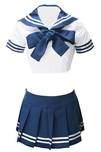 Bslingerie Women Costume Sailor Uniform Crop Top Skirt Set (M, Sailor) -