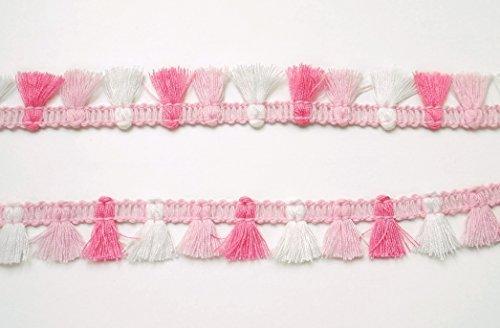 Sweet Pink White Mini Tassel Fringe Dangle Trim Apparel Costume Braid Woven Sewing Embellishments Craft Supply ()