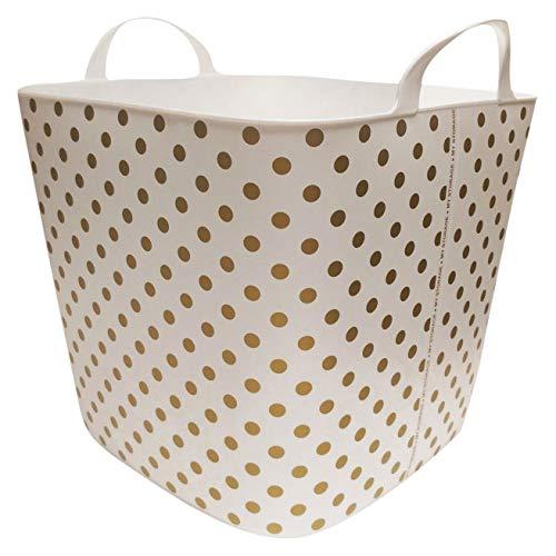 Polka Storage Dot - Life Story 25 Liter Plastic Home Storage Container Bin Tub Basket, Gold Polkadot