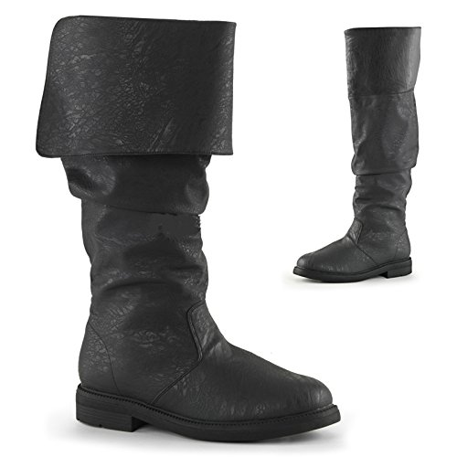 RH100 (Large 12-13, Black) Robin Hood Knee High Boots With (Renaissance Boots Men)