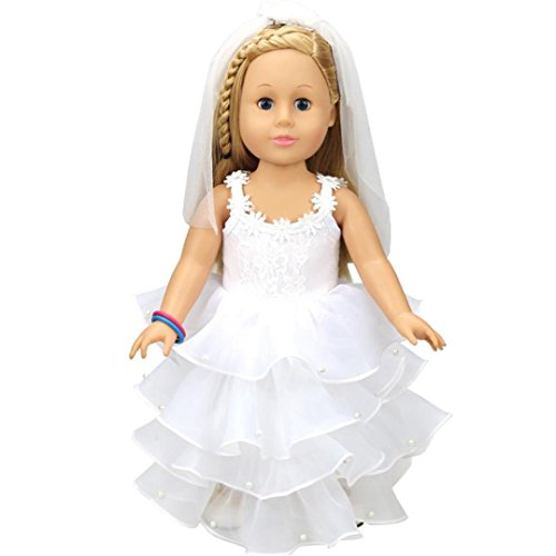 Fiaya 18 inch Our Generation American Girl Doll Wedding White Communion Dress (White) -