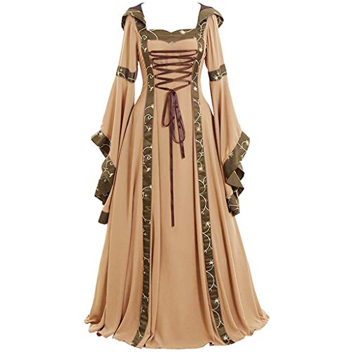 Women Cosplay Dress-Medieval Vintage Trumpet Swing Maxi Evening Dresses Performance Halloween Party Costumes S-5XL Khaki]()