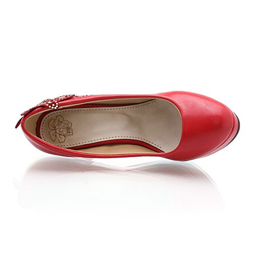 Toe Pmps Material Red Heel Flower Womens Closed with Solid Round AmoonyFashion PU High Soft Platform qtwTBPPx