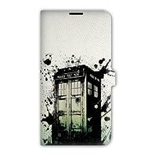 Leather flip case Samsung Galaxy Grand Prime Doctor Who - - tardis white -