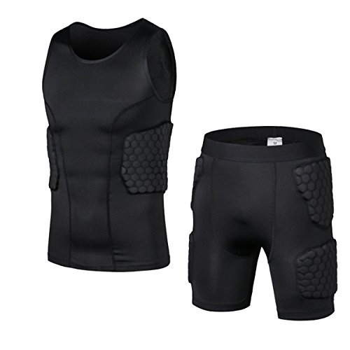 Padded Compression Sleeveless Shirt and Short Sportswear Set- Football Soccer Basketball Hockey Protective Gear Mens Clothing (XXL)