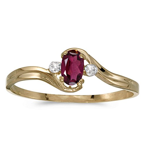 FB Jewels 14k Yellow Gold Genuine Red Birthstone Solitaire Oval Rhodolite Garnet And Diamond Wedding Engagement Statement Ring - Size 4.5 (0.23 Cttw.) ()