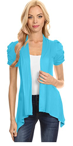 (Simlu Open Front Cardigans for Women Ruched Short Sleeve Flyaway Cardigan - USA (Size Small US 2-4, Turquoise))