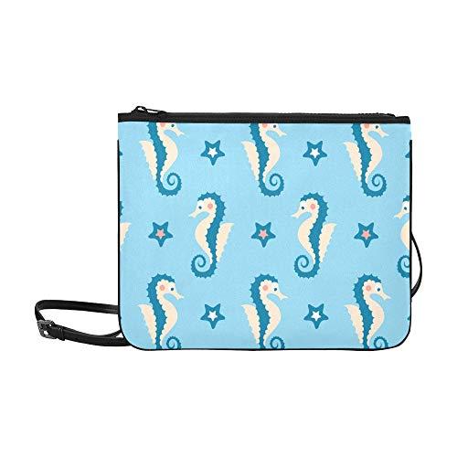 (Sea Seamless Colorful Pattern With Sea Horses And Pattern Custom High-grade Nylon Slim Clutch Bag Cross-body Bag Shoulder Bag)