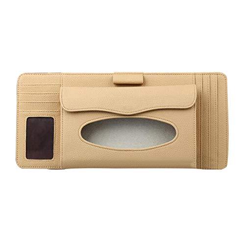 dxS8hhuo Tissue Storage | Universal Car Sun Visor Faux Leather Tissue Box Pen CD Card Holder Organizer - Beige