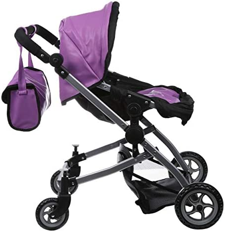 41A7kL F5DL. AC - Babyboo Luxury Leather Look Twin Doll Pram Foldable Double Doll Stroller With Basket, Convertible Seat, Adjustable Handle, Swiveling Wheels, And Free Carriage Bag (Multi Function) - 9651A Purple