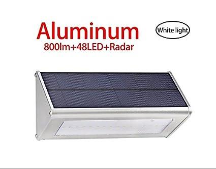 800 lúmenes solar luz 48 luces LED impermeable al aire libre aluminio aleación vivienda, Radar
