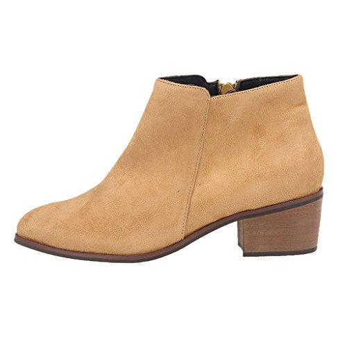 ZriEy Velvet Winter Toe Velvet Ankle Boots Women's Pointed Heel Faux Casual Nude Shoes Suede Chunky AqArvE8