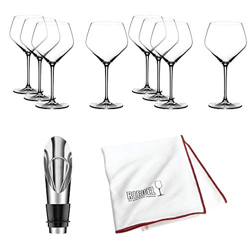 (Riedel Extreme Crystal Oaked Chardonnay Wine Glass, Set of 8 Glasses Includes Bottle Opener and Polishing Cloth)