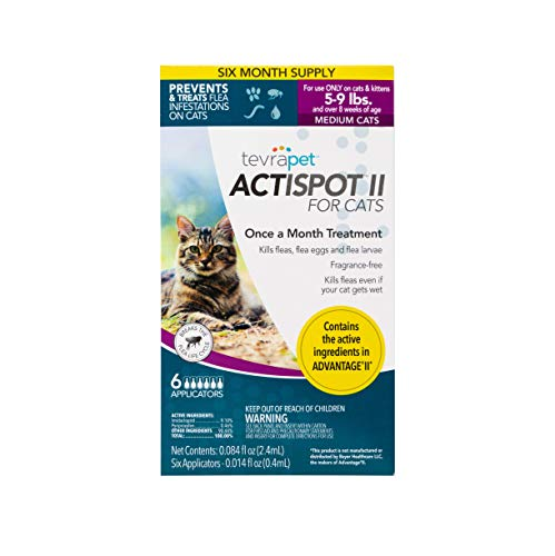 TevraPet Actispot II Flea Prevention & Treatment for Cats - Topical- for Cats 5-9 lbs (Best Topical Flea Treatment)