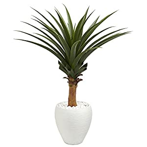 Nearly Natural 8091 Agave Artificial White Planter Silk Plants, Green 97