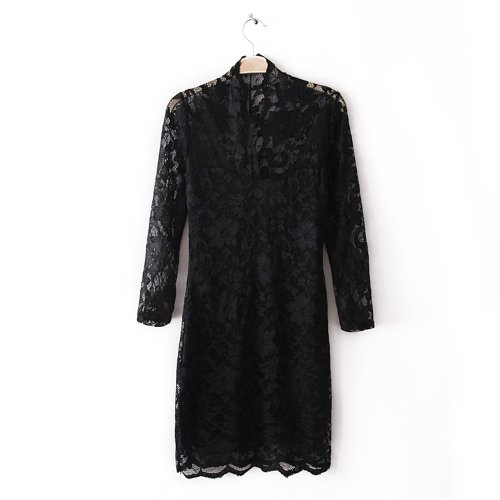 Little Hand Womens Slim V-Neck 3/4 Sleeve Cocktail Party Lace Mini Wrap Dress