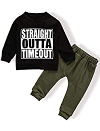 Toddler Baby Boy Clothes Long Sleeve Funny Letter Sweatshirt Top + Camouflage Pants Outfit Set