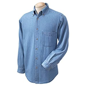 Harriton Men's Long Sleeve Denim Shirt, L, Light Denim