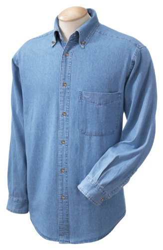Harriton Men's Long Sleeve Denim Shirt, XL, Light - Denims Blue