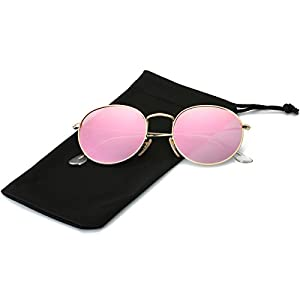 LKEYE Small Unisex Classic Vintage Round Mirror Lens Polarized Sunglasses LK1702