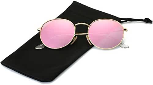 LKEYE Unisex Classic Vintage Round Mirror Lens Polarized Sunglasses LK1702
