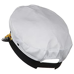 Sailor Ship Yacht Boat Captain Hat Navy Marines Admiral Cap Hat White Gold 23400
