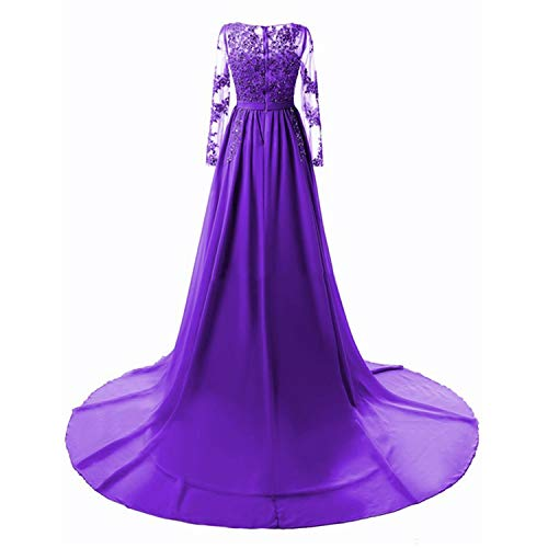 Crystals Beaded Chiffon Prom Dresses Backless Mesh Evening Dresses Long Party,Purple with - 6 Regency Drawer Dresser