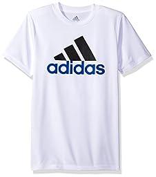 Adidas Big Boys\' Clima Performance Logo Tee, White, L