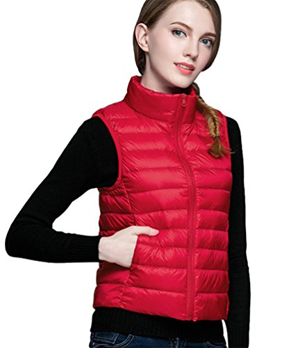 Jacket Red Lightweight Short Vest Coat Jacket Gilet Fit Slim Baymate Women's Stand Down Outwear Packable Collar qxZYtzRw