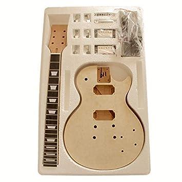 7wmlpqmb Quilted Maple (Forma de Arco Top) Hazlo Tú Mismo Guitarra Eléctrica Kits, Estilo Macizo Caoba Cuerpo con Spalted Arce Chapa No Requiere Soldadura: ...