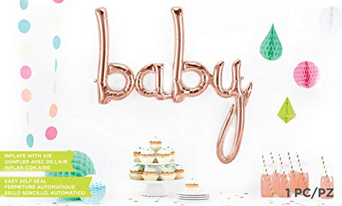 46'' Rose Gold Baby Script Balloon by Jamboree Party Box