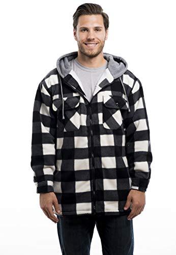 - TrailCrest Men's Warm Sherpa Lined Hoodie Fleece Shirt Jacket-Classic Zip Up Buffalo Plaid