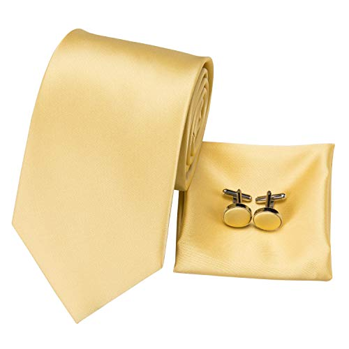 - Hi-Tie Classic Gold Champagne Tie Pocket Square and Cufflinks Gift Box set Woven Silk Wedding Necktie (Pure Solid Gold)