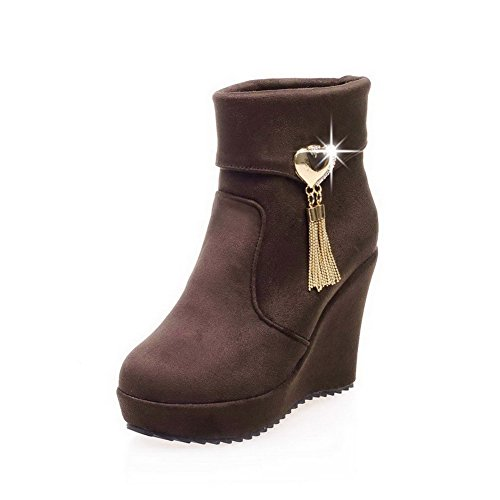 WeiPoot Women's Frosted Round Closed Toe Solid Low-top High-Heels Boots, Brown, - And Code High Festival Low Discount