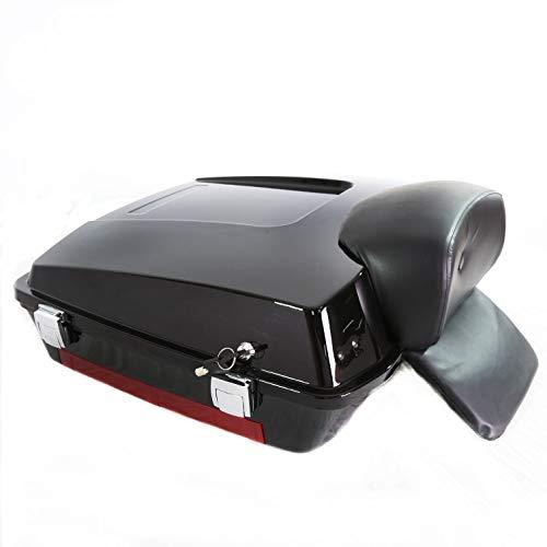 (Gloss Black Razor Tour Pack Pak Trunk Chopped Backrest For Harley Touring 97-08)
