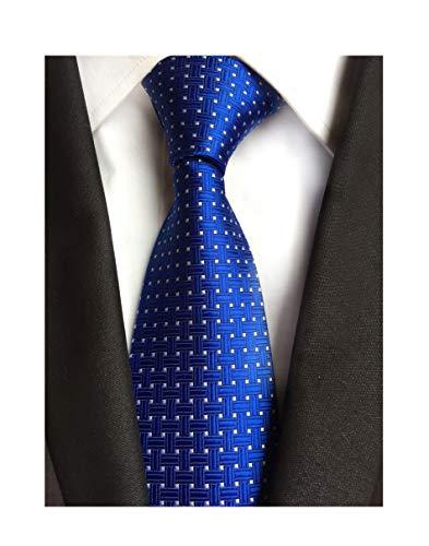Design Mens Tie - Elfeves Men Navy Blue Neckties Vintage Silk Cravat Woven Leisure Design Ties