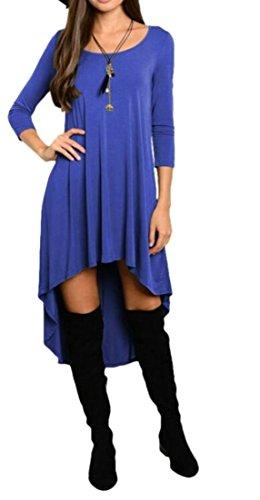 Girocollo Donne Blu low Hi Cruiize Irregolare Slong Camicia Vestito Manica wqYwr4z